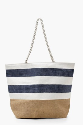 boohoo Woven Base Denim Stripe Beach Bag