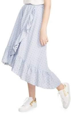Maje Johno Dot Stripe Ruffle Skirt