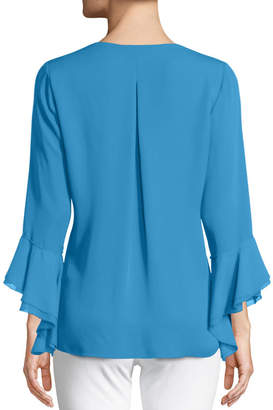 Elie Tahari Julianna Ruffle-Trim Silk Blouse