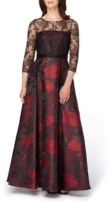 Women's Tahari Lace & Jacquard Ballgown $299 thestylecure.com
