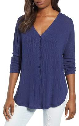 Caslon Button Front Ribbed Knit Top