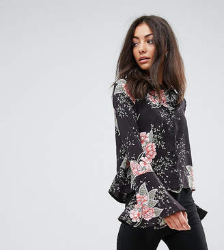 Missguided Tall Floral Print Flare Sleeve Shirt