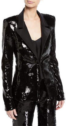 Brandon Maxwell Single-Breasted Sequin Jacket w/ Faille Collar