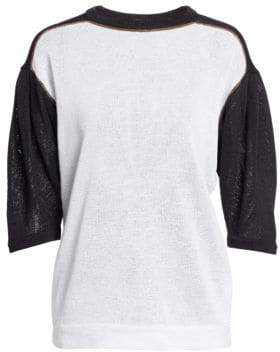 Brunello Cucinelli Contrast Knit Short-Sleeve Sweater