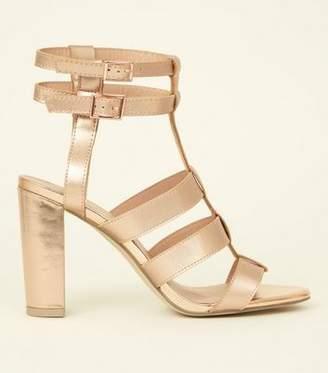 0a6f3dc5263 New Look Rose Gold Metallic Gladiator Block Heels