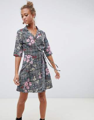 Influence check and floral print wrap dress