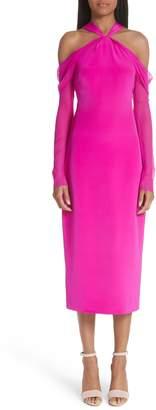 Cushnie et Ochs Trubi Chiffon Sleeve Halter Dress
