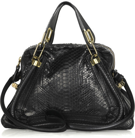 Chloé The Paraty medium python and leather shoulder bag