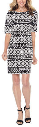 R & K Originals Short Sleeve Puff Print Pattern Shift Dress