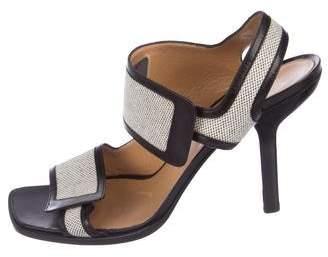 Hermes Leather-Trimmed Canvas Sandals