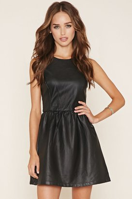FOREVER 21 Faux Leather Skater Dress $24.80 thestylecure.com