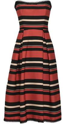 Nicholas Strapless Pleated Striped Twill Midi Dress