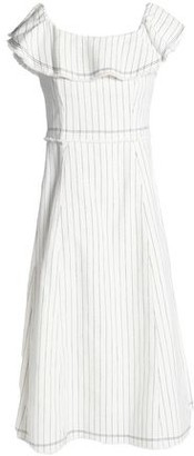 Alexander Wang Ruffled Striped Textured-Cotton Dress