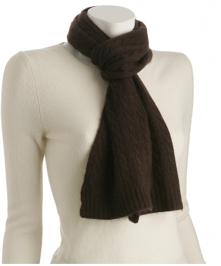 Portolano chocolate brown cashmere baby cable scarf