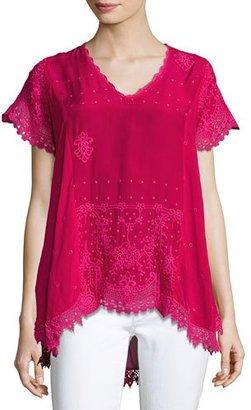 Johnny Was Voi Princess Short-Sleeve Georgette Top, Plus Size $255 thestylecure.com