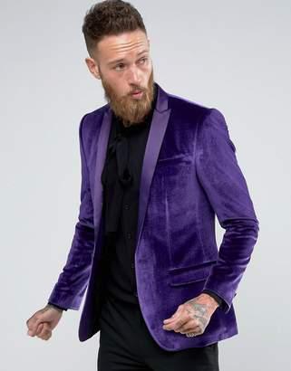 Asos Design Skinny Blazer In Purple Velvet