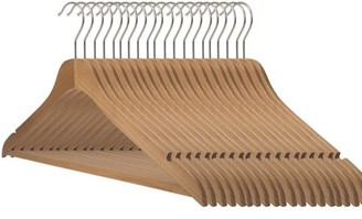 "Slim Line 17"" NAHANCO Ultra Thin Space Saving Premium Natural Wooden Suit Hangers (Pack of 50)"