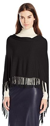 Minnie Rose Women's Core Cotton Fringe Ruana $27.62 thestylecure.com