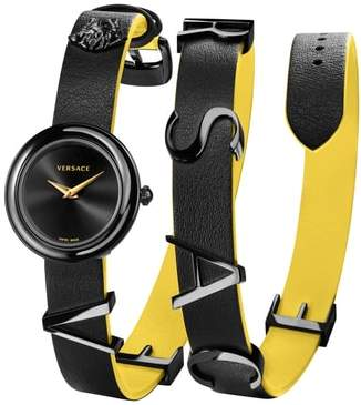 Versace V-Flare Double Wrap Leather Strap Watch, 28mm