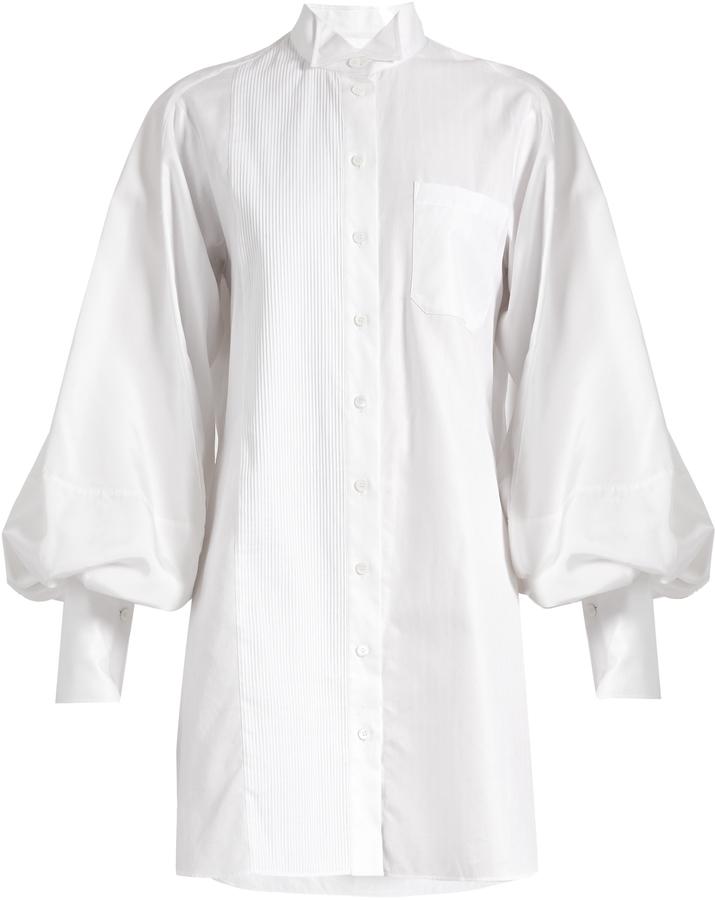 Burberry BURBERRY Exaggerated-sleeve herringbone-cotton shirtdress