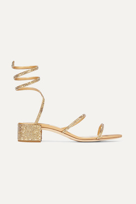 Rene Caovilla Cleo Crystal-embellished Satin And Leather Sandals - Gold