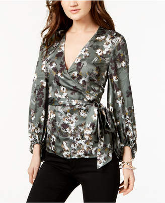 INC International Concepts I.n.c. Petite Printed Faux-Wrap Top, Created for Macy's