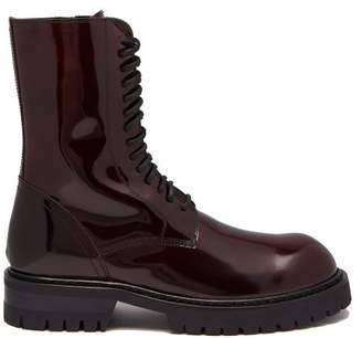 Ann Demeulemeester Polished Leather Ankle Boots - Womens - Burgundy
