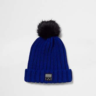 River Island Boys blue faux fur bobble beanie hat