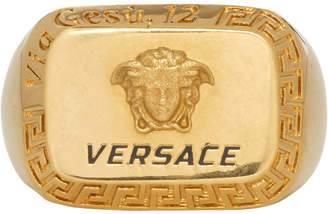 Versace Gold Square Medusa Ring