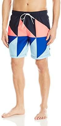 Nautica Men's Quick Dry Geo Color Block Swim Trunk