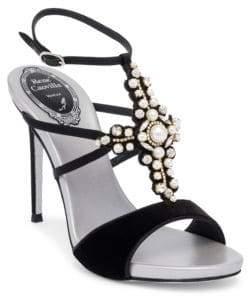Rene Caovilla Velvet T-Strap Sandals