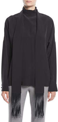 Tibi Long-Sleeve Silk Top w/ Fringe Scarf