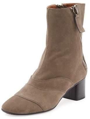 Chloe Lexie Short 30mm Boot, Dark Beige $950 thestylecure.com