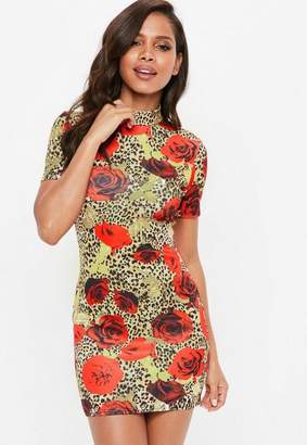 Missguided Rose Leopard Print High Neck Bodycon Dress
