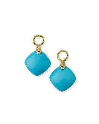 Jude Frances Lisse 18K Turquoise Cushion Earring Charms with Diamonds