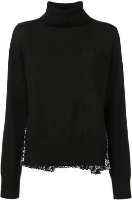 Sacai pleated printed back turtleneck sweater