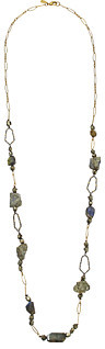 Alexis Bittar Alexis Bittar Labradorite & Rough Pyrite Station w/ Crystal Encrusted Honeycomb Links Necklace