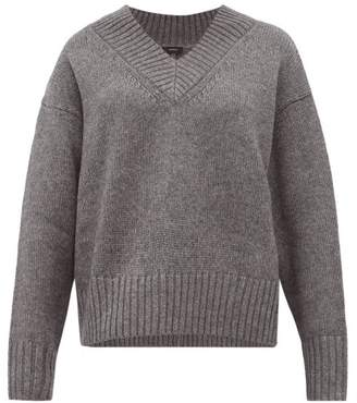 Joseph V Neck Wool Blend Sweater - Womens - Dark Grey