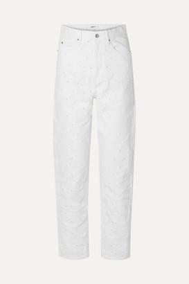 Etoile Isabel Marant Lorny Distressed High-rise Straight-leg Jeans - White