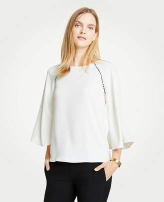 Ann Taylor Petite Scalloped Mixed Media Top