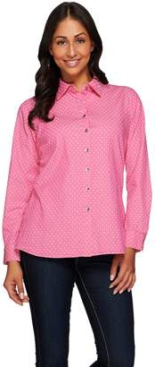 Denim & Co. Stretch Denim Printed Long Sleeve Shirt