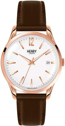Richmond Henry London Men's 39mm Brown Leather Band Steel Case Quartz Dial Analog Watch HL39-S-0028