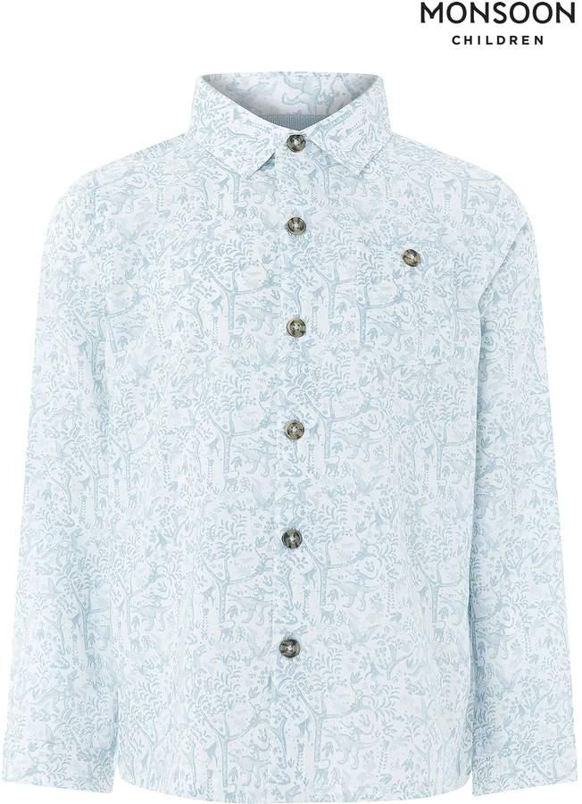 Boys Monsoon Blue Isaac Long Sleeve Shirt - Blue