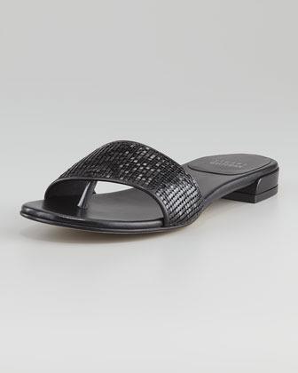 Stuart Weitzman Mailroom Stretch Thong Sandal, Black