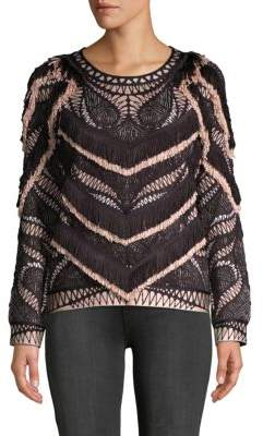 Herve Leger Everly Frayed Sweater
