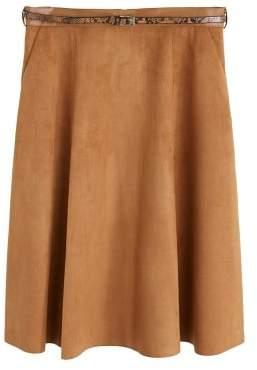 MANGO Violeta BY Midi suede skirt