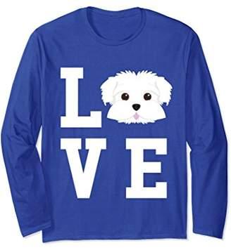 I Love My Dog - Maltese Dog Lover Long Sleeve T-Shirt