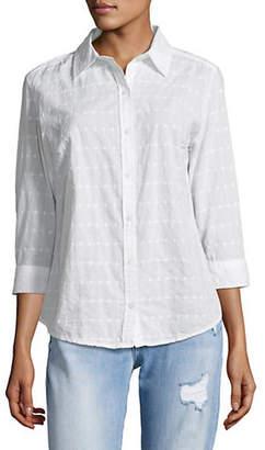 Karen Scott Petite Eyelet Cotton Button-Down Shirt