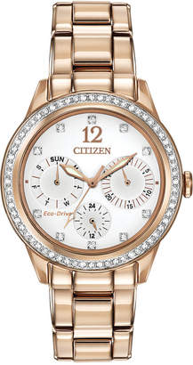 Citizen Women Chronograph Eco-Drive Silhouette Crystal Rose Gold-Tone Stainless Steel Bracelet Watch 37mm FD2013-50A