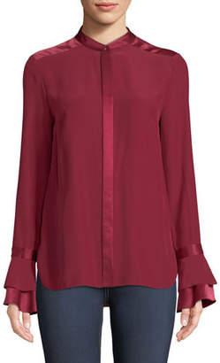 Elie Tahari Safiya Silk Button-Front Blouse